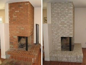 Updating The Fireplace White Washing Brick And Spray Painting The Brass Living Space I Fire Place Red Brick Fireplaces Painted Brick Fireplaces Brick