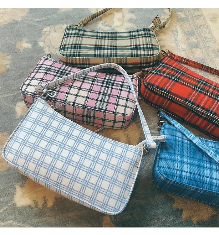 90s Retro Plaid Shoulder Bag