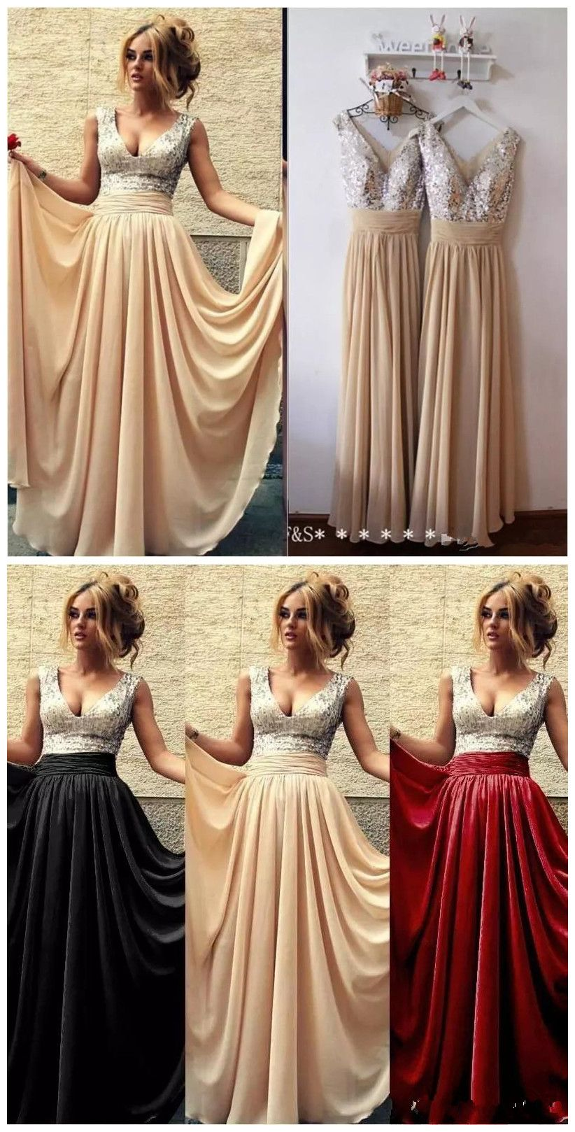 Burgundy Black Pink Champagne Sequins Bridesmaid Dresses Long 2016 ...