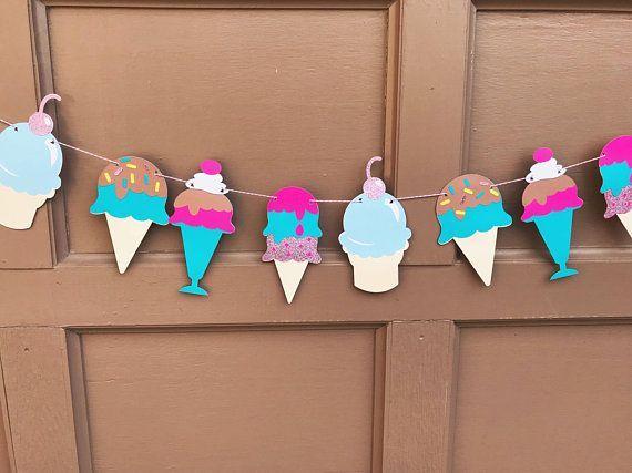 Ice cream party banner, Ice cream cone garland, Ice cream Party Decoration, Ice Cream Cone Bunting, Ice cream Party #catchmyparty #icecreamgarland #icecreambirthdayparty #icecreampartydecorations #summerparty. | Ice Cream Birthday Party #icecreambirthdayparty