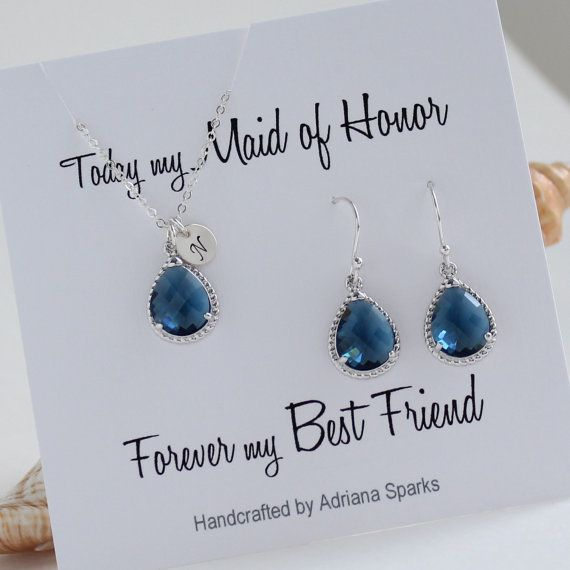 Personalized Maid of Honor Gift Bridesmaid Jewelry Set Bridesmaid