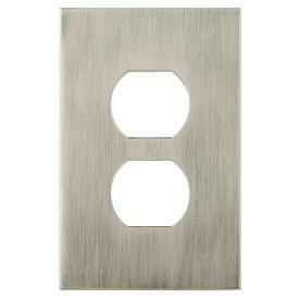 allen   roth�Linden 1-Gang Satin Nickel Standard Duplex Receptacle Metal Wall Plate