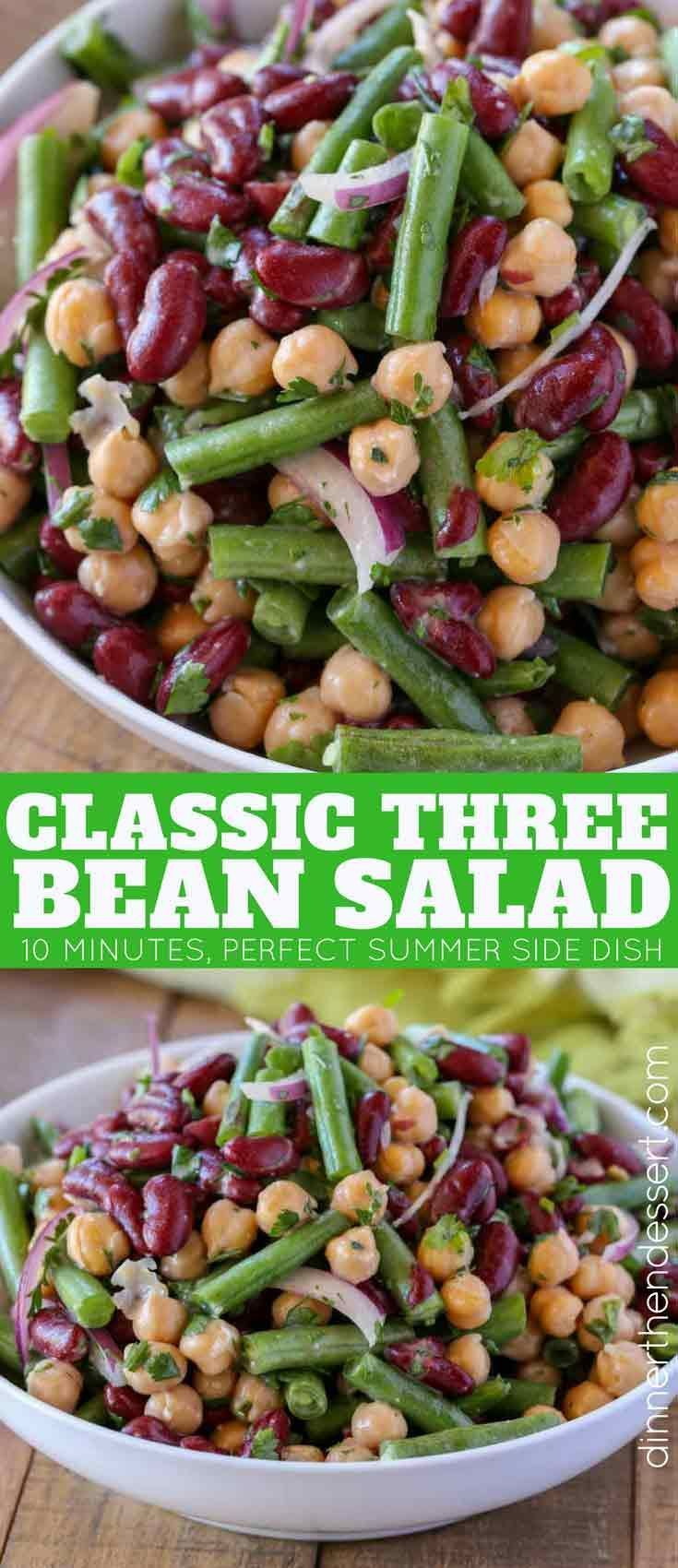 The Classic Three Bean Salad With Green Beans Garbanzo Beans And Kidney Beans Tossed With A Swe Bean Salad Recipes Green Bean Salad Recipes Summer Side Dishes