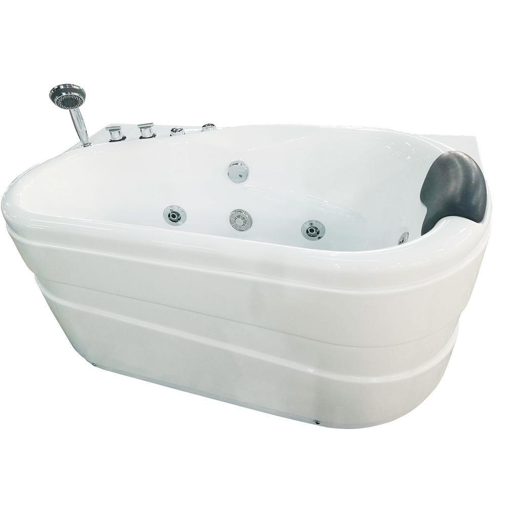 Eago Am175 L 57 In Acrylic Flatbottom Whirlpool Bathtub In White