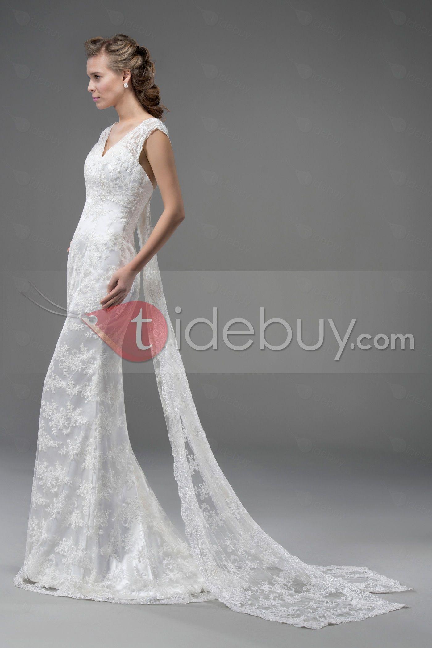 エレガントなVネックレースのヴァトーのトラインウェディングドレス
