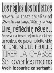 Affiche Les Règles Des Toilettes Point De Croix Ect