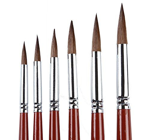 Artist Paint Brushes Set Red Sable Weasel Hair Round Brush For