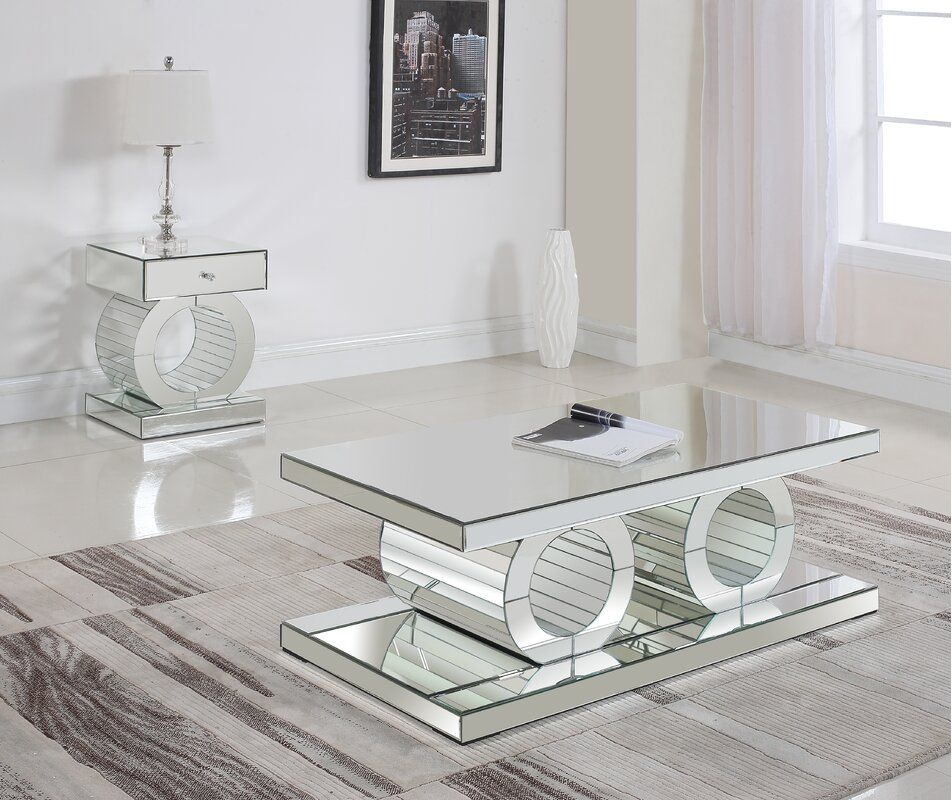 Modern Living Room Design Photo By Wayfair In 2020 Mirrored Furniture Decor Coffee Table Mirrored Furniture