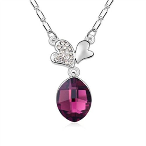 exquisite shine jewellery necklace by swarovski elements purple