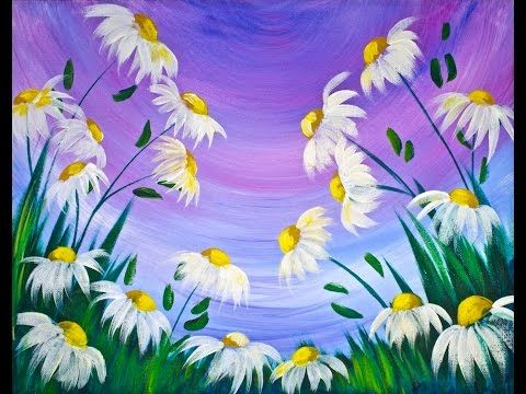 Easy spring flowers acrylic painting on canvas for for Step by step acrylic painting flowers for beginners