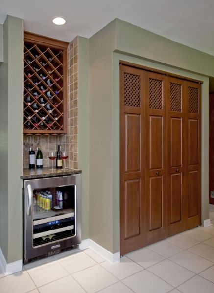 New Beverage Wine Area With Adjacent Custom Utility Closet Doors That Replaced The Original Pine Builders Specification Wood Lattice Work Was