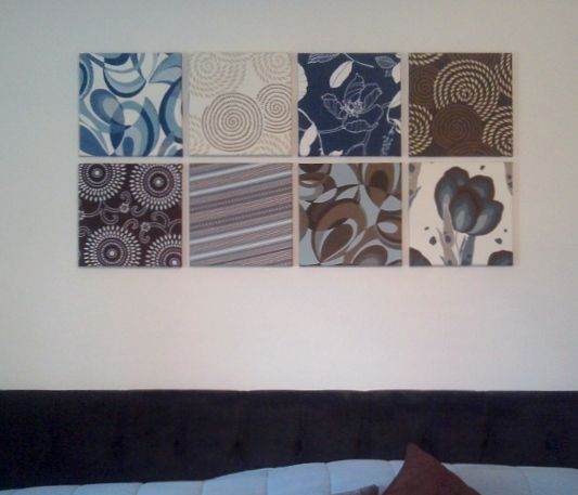 Diy wall art less than 30 18x18 sample pieces of discontinued patterns at joann fabrics wrapped around 12 canvases from michaels