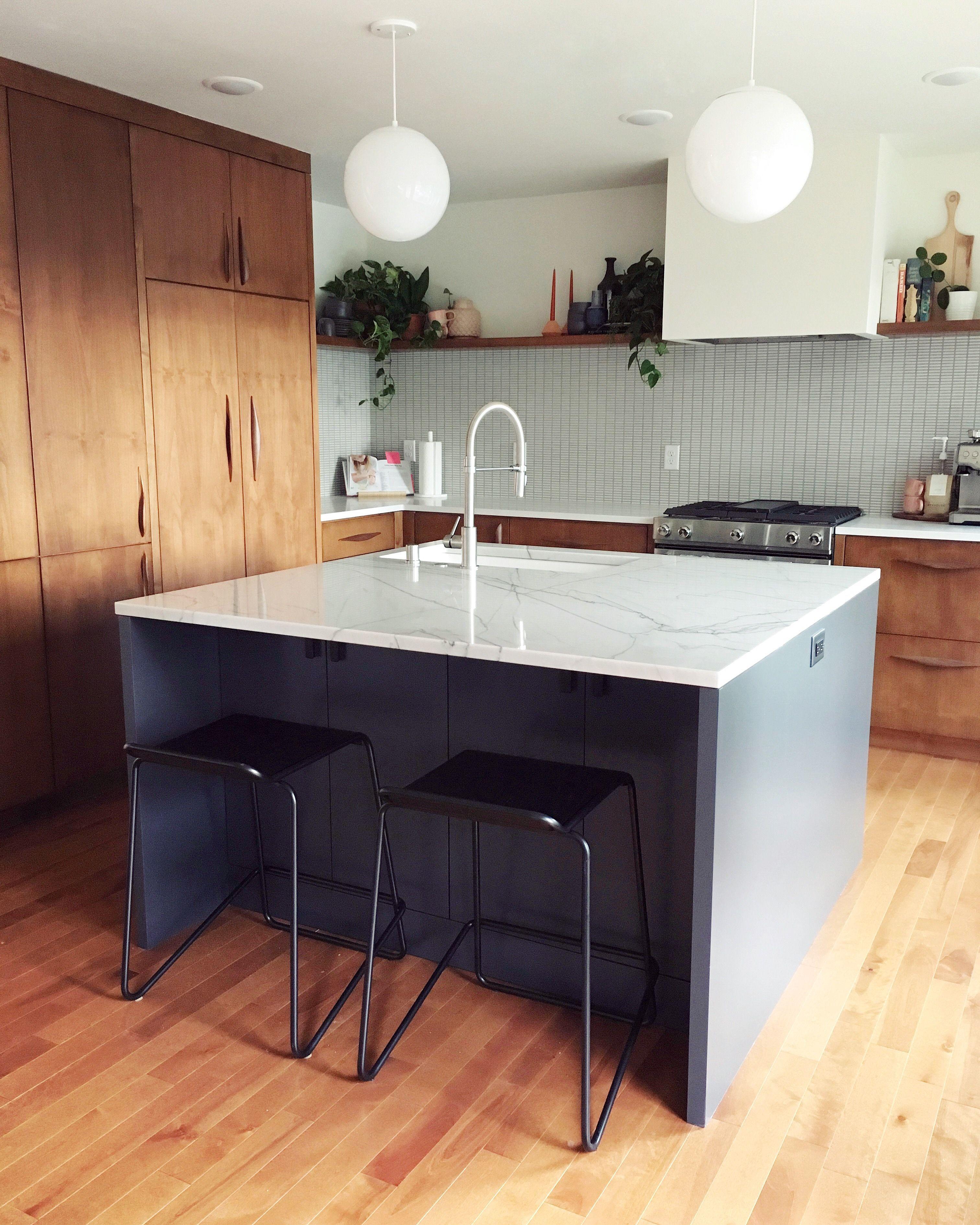 Mid Century Modern Kitchen Renovation Two Tone Cabinets