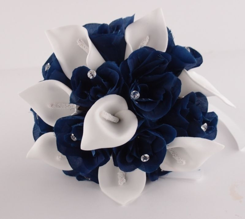 Toss Flower Girl Bridesmaid wedding Bouquet Navy blue,White Rose ...