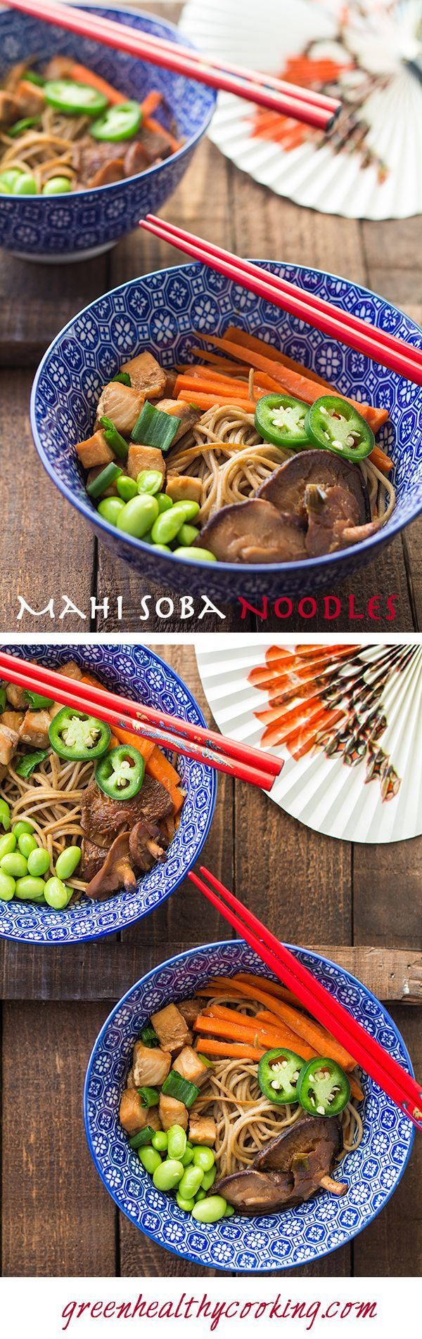 A recipe for a nutrient dense Mahi Mahi Soba Noodle Stir-Fry with edamame, shiitake mushrooms and carrots. Perfect on busy weekdays for lunch or dinner.