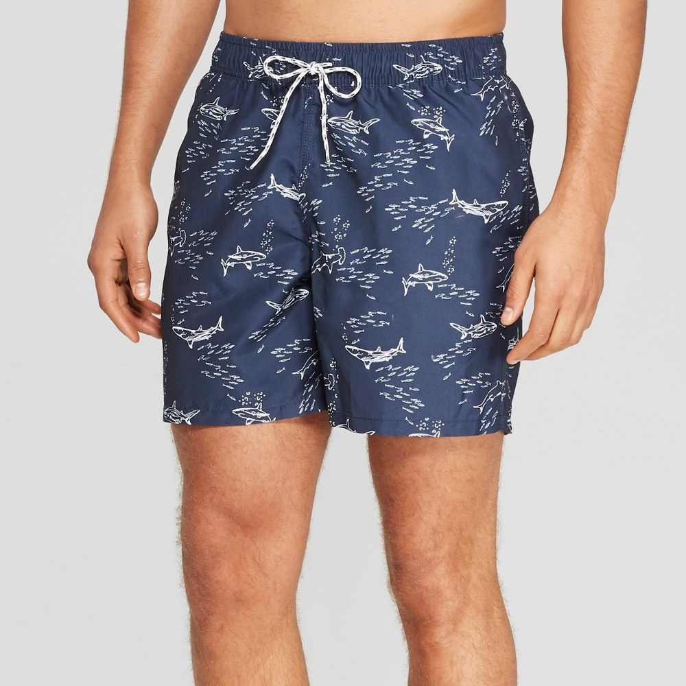 fcea873406 Update your swimwear with the fun vibe of these Shark-Print Swim Trunks  from Goodfellow and Co. Made from recycled fabric with mesh lining and  hitting above ...