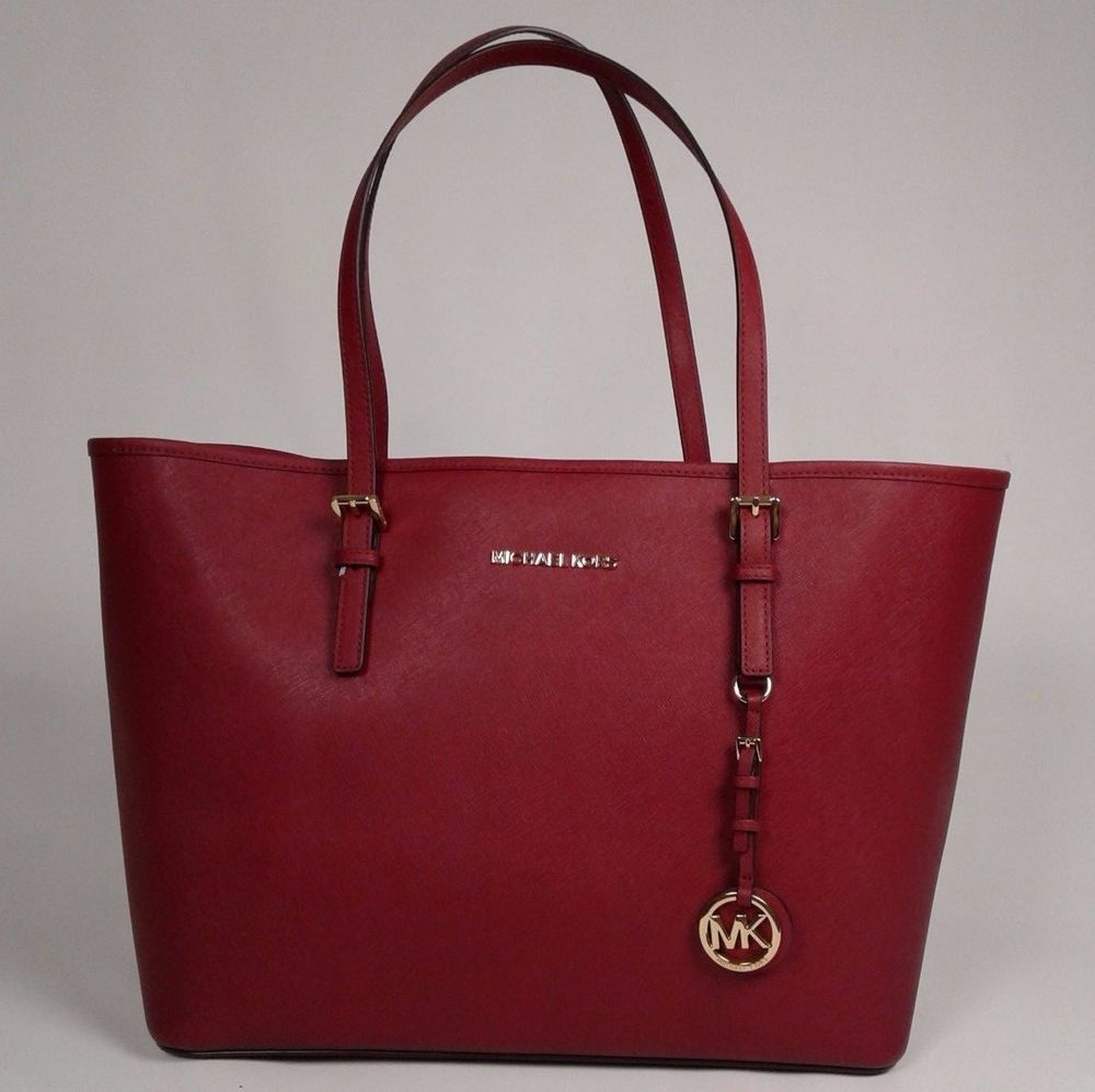 New Michael Kors Medium Bag Shoulder Travel Tote Saffiano Leather Red Handbag Michaelkors Shoulderbag