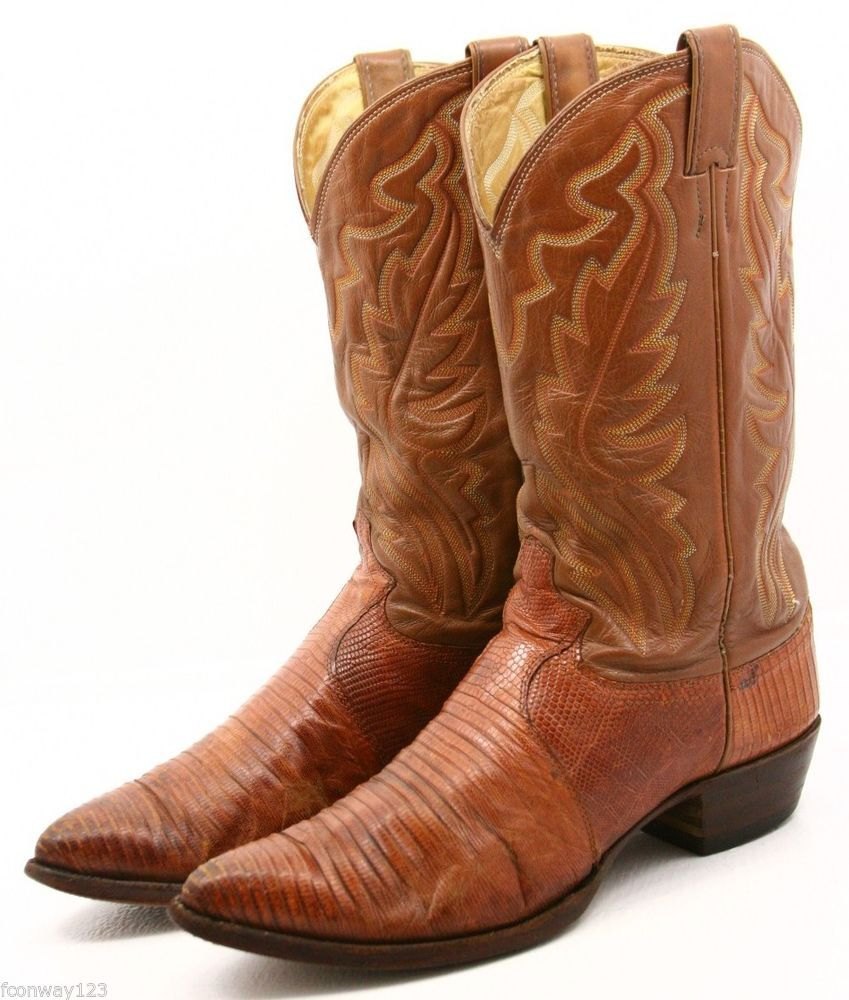 Justin Teju Lizard Mens Cowboy Boots Size 11.5 D exotic leather ...
