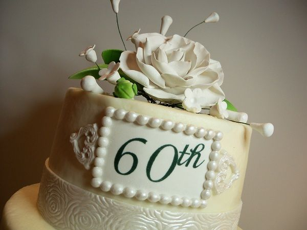 60th anniversary cake in butter cream with fondant for 60th wedding anniversary decoration ideas