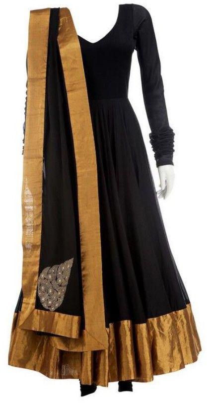 anarkali dress black gold