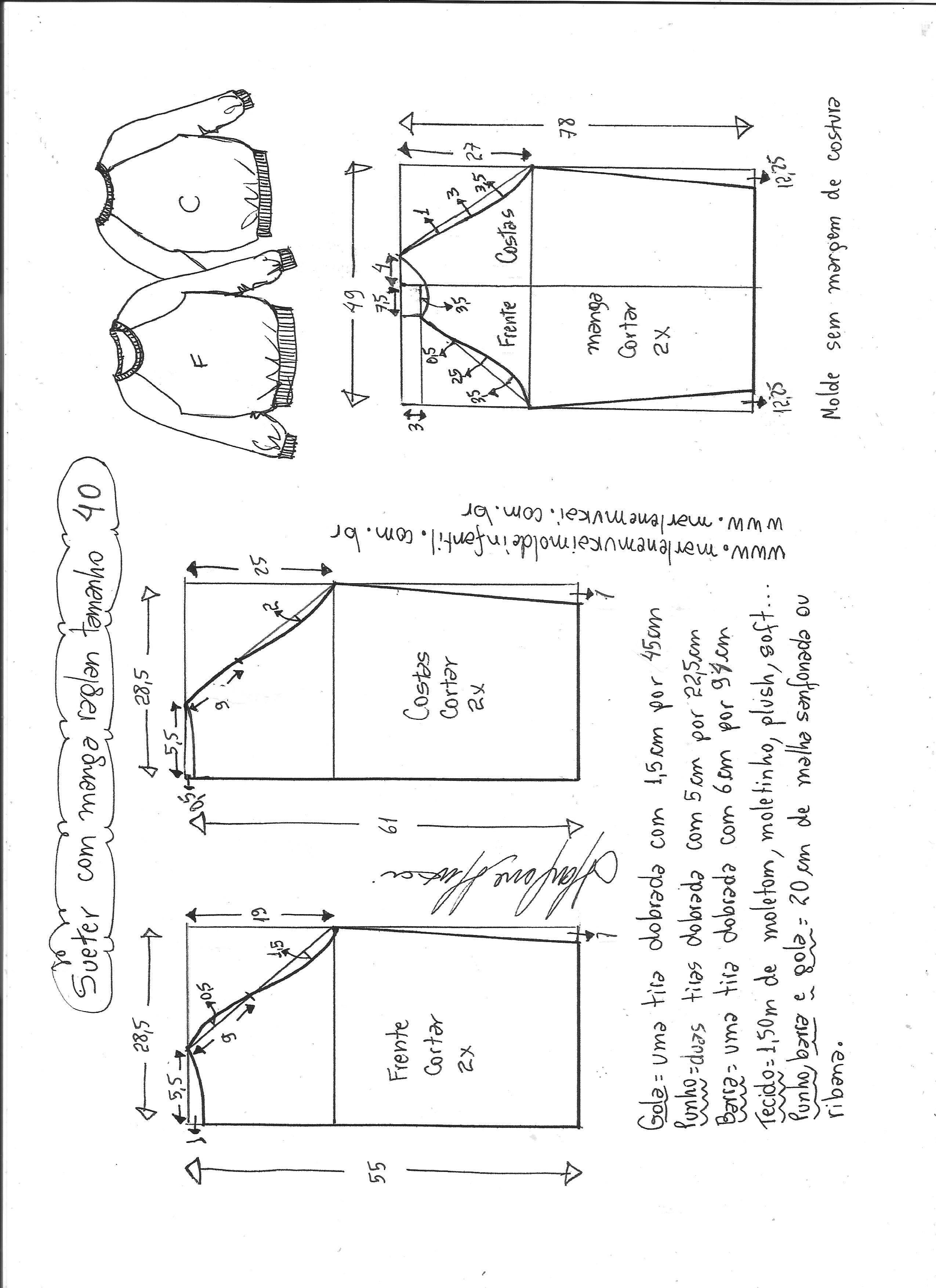 Blusa suéter raglan   Patrones, Costura y Molde