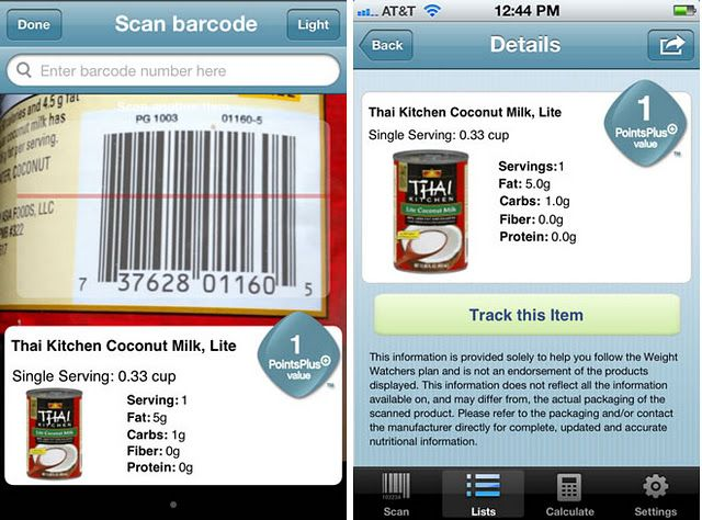Weight Watchers Barcode Scanner App... that's pretty cool ...