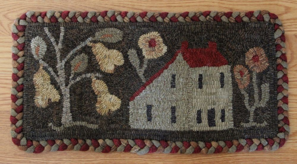 Primitive Hand Hooked Rug Mat Saltbox Pears Folk Art Finished Hand Hooked Rugs Rug - Teppich Von Hand Knüpfen