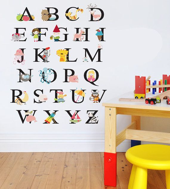 Childrens ABC Alphabet Animals Wall Decal Nursery Kids Playroom Vinyl Wall  Sticker Baby Teacher Mural Classroom Daycare