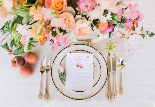 Gold Peach, Coral and Pink Table Setting for a Spring Wedding Inspiration Shoot at Florence Court by Paula O Hara | www.onefabday.com