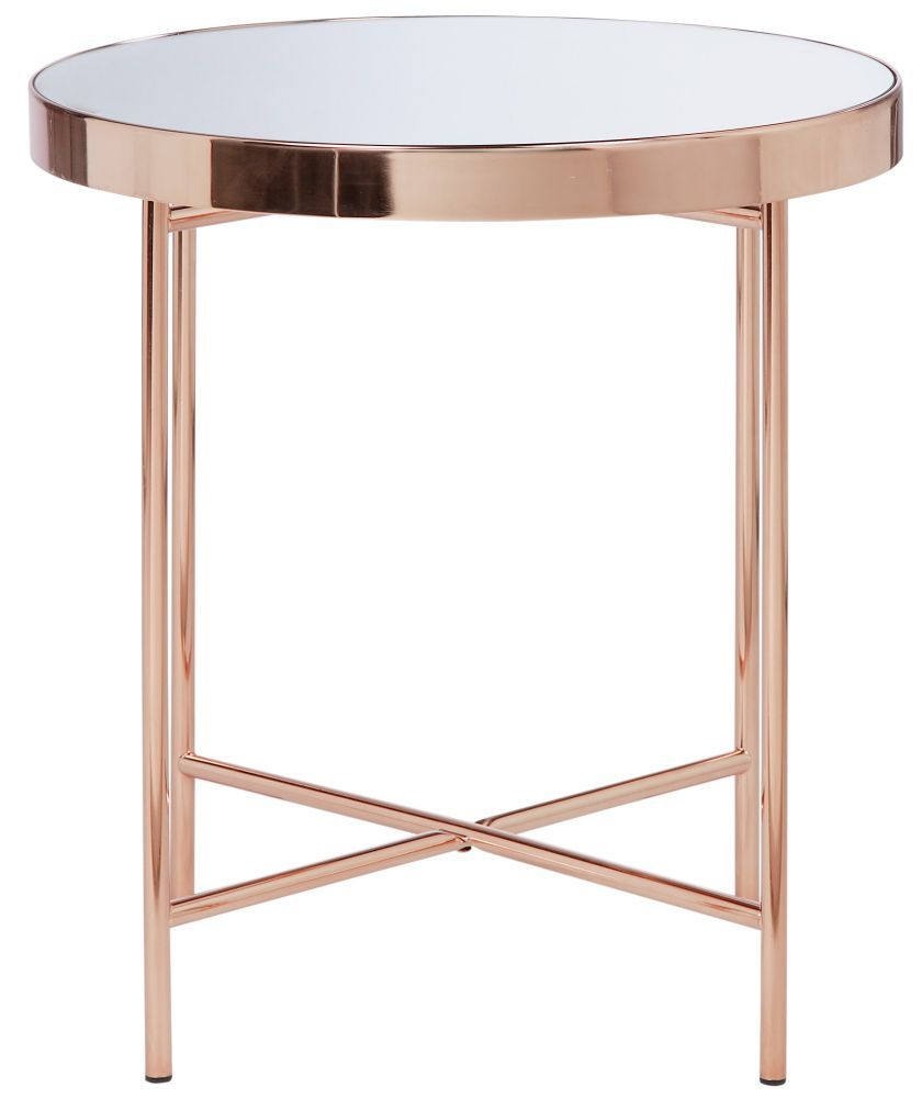 Buy Collection Round Glass Top Side Table Copper Plated At Argos