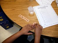 In an attempt to make spelling practice more fun, I created this quick Scrabble Spelling Activity (which went with our Spelling words from 2...