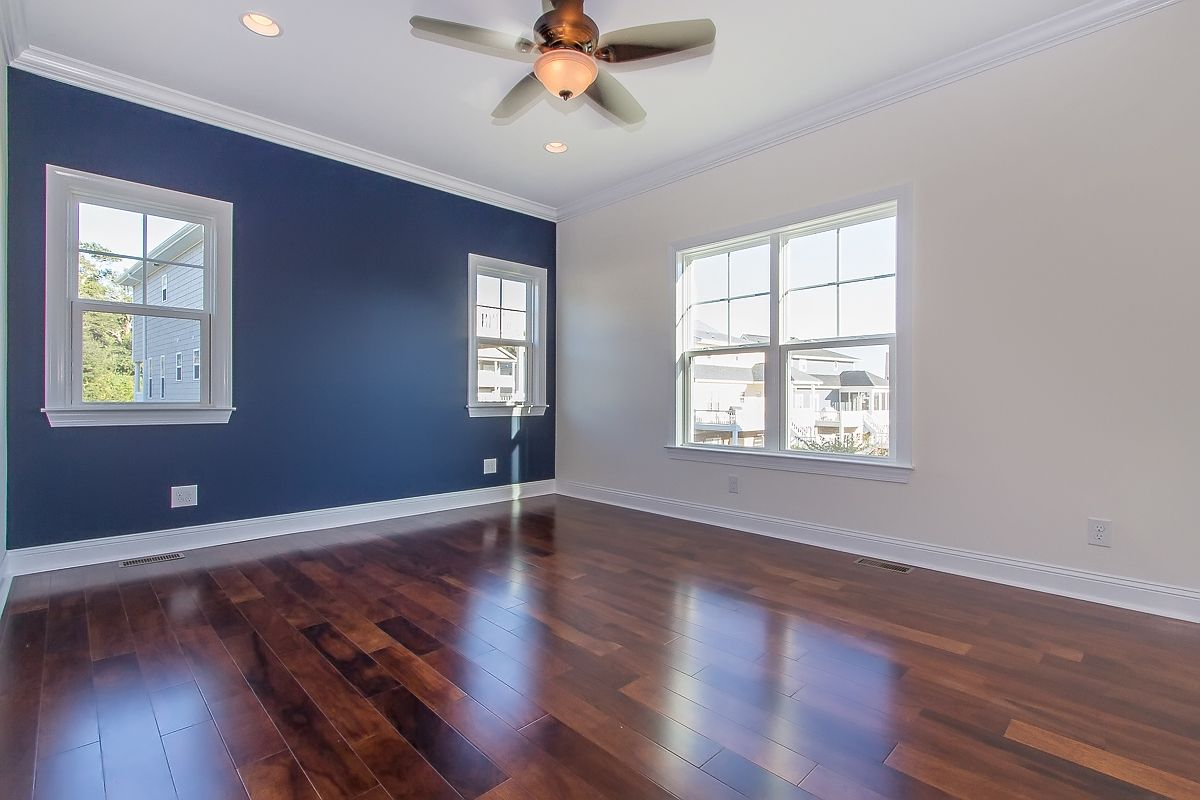 Guest Bedroom with Navy Accent Wall