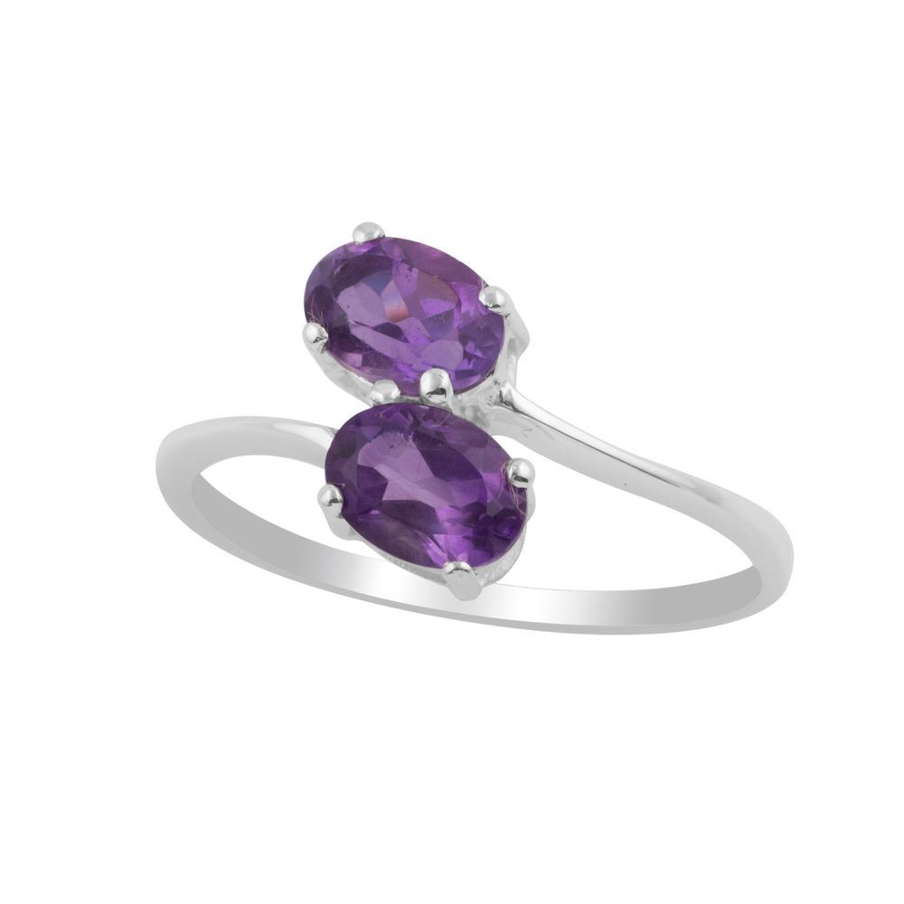 Natural Amethyst Sterling Silver Two Stone Ring Girl's Jewelry Christmas Gift  #Unbranded #TwoStone #Christmas