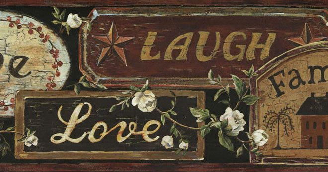 Live Love Laugh Primitive Wallpaper Border FFR65402B Decorate247