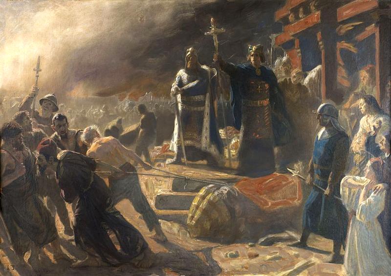 Laurits Tuxen, , Arkonas indtagelse af kong Valdemar den Store og biskop Absalon 1169, 1894, Det Nationalhistoriske Museum på Frederiksborg Slot