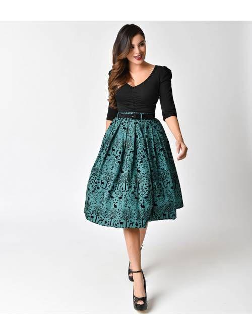c0848e24905 Hell Bunny Green   Black Velvet Sherwood High Waist Swing Skirt ...