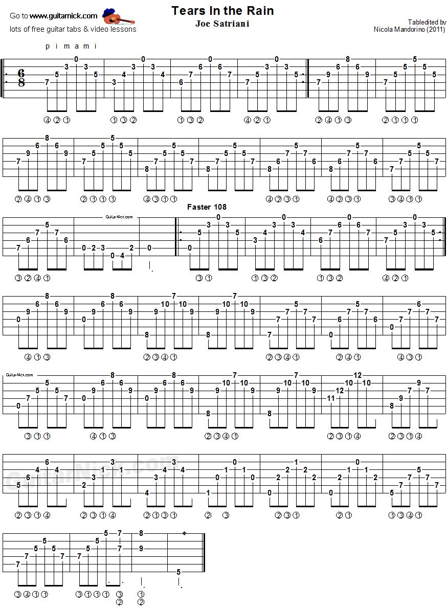 Tears In The Rain Fingerstyle Guitar Tab Guitarnick Com Guitar Tabs Guitar Tabs Acoustic Learn Acoustic Guitar