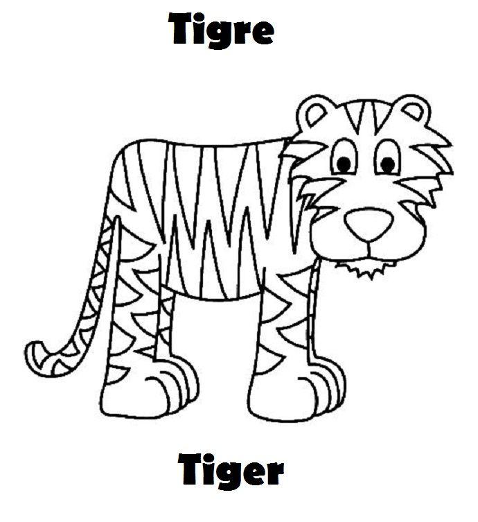 Tigre Colorear Ingles Espanol Jpg 690 753 Dibujos De Animales