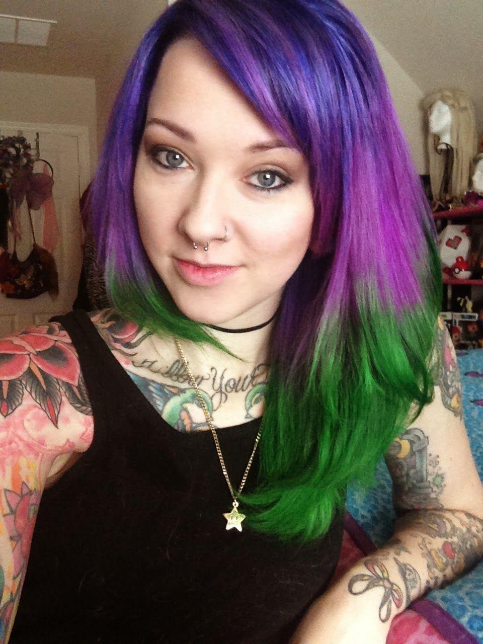 Glitzy Geek Girl Purple And Green Hair Green Hair Purple And Green Hair Turquoise Hair Color