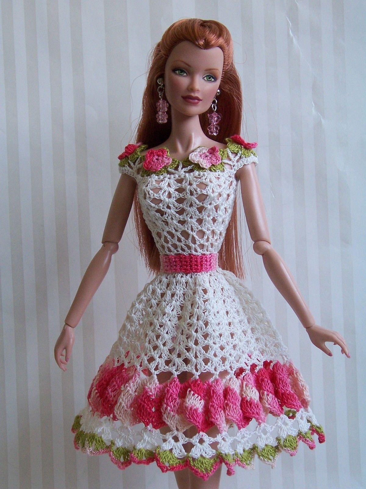Картинки вязаные платья на куклу барби крючком