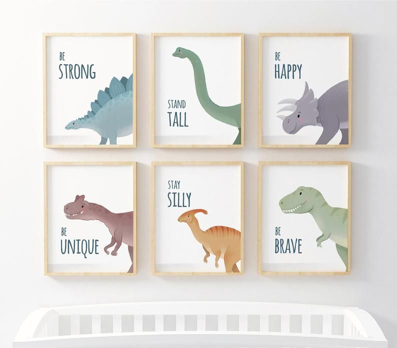 Set of 6 Dinosaur nursery prints, nursery wall art, dinosaur decor, boys room wall art, kids room decor, dinosaur art, inspirational text
