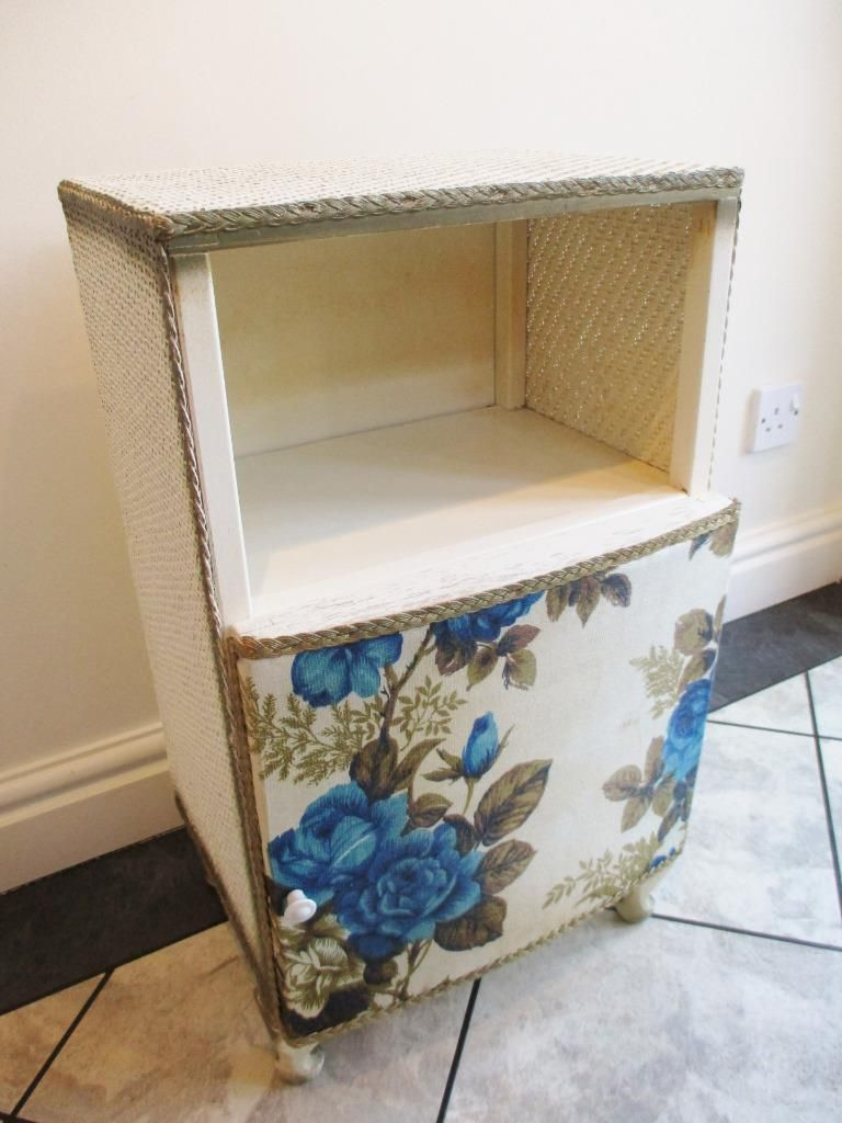 Retro Style Container Bedside Table: Vintage 60's Lloyd Loom Style Blue Floral Bedside Cabinet