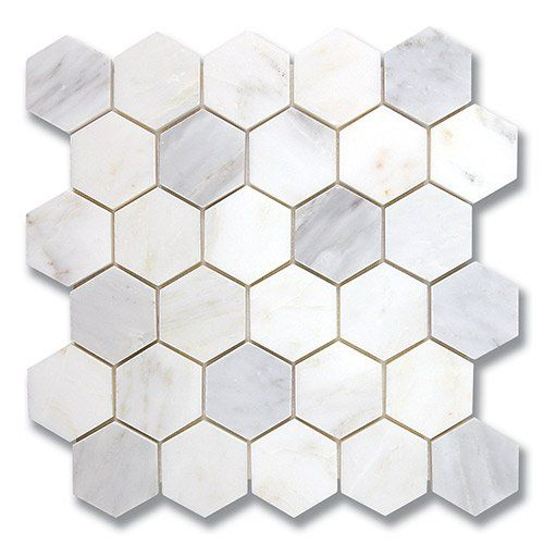 AKDO\'s Carrara Bella stone mosaic is a white hexagon pattern that ...