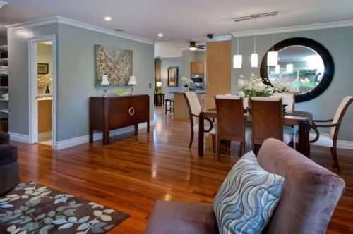 Aqua Blues Chocolate And Lattes Looking Nice Paired Together Soothing Too Large Open Concept Dining Room Home Cherry Wood Floors Blue Living Room