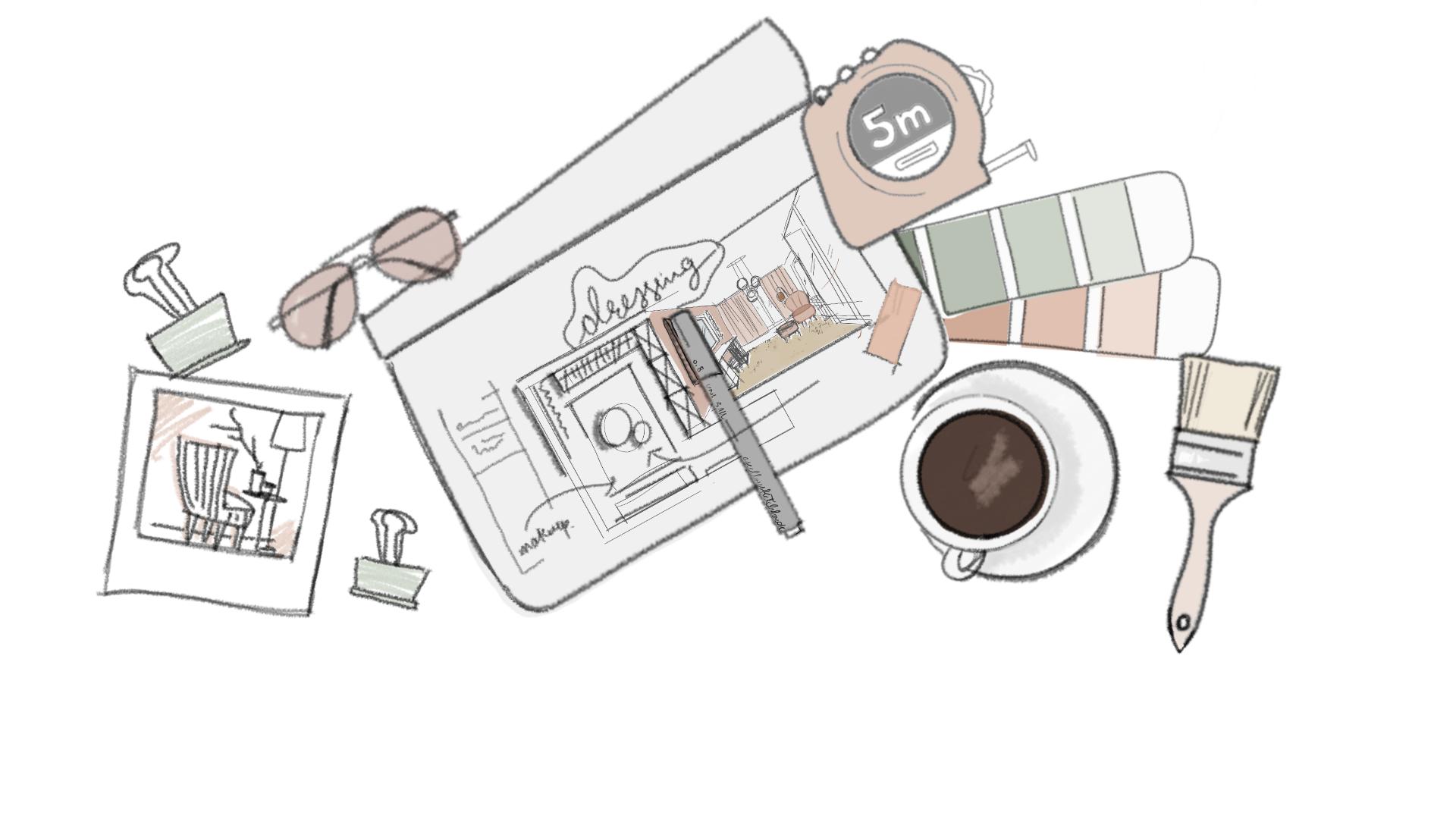 Sketched Flatlay Of Interior Design Tools Interior Sketch Interior