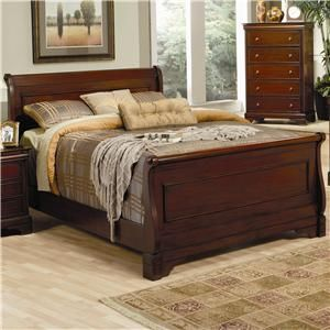 Coaster Versailles King Sleigh Bed With Deep Mahogany Stain   Coaster Fine  Furniture