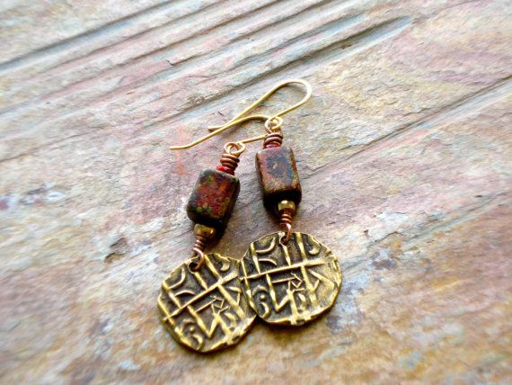 Earrings Brass Dangle Ceramic Bead Red Gold Black by fitzUniqueli, $26.00