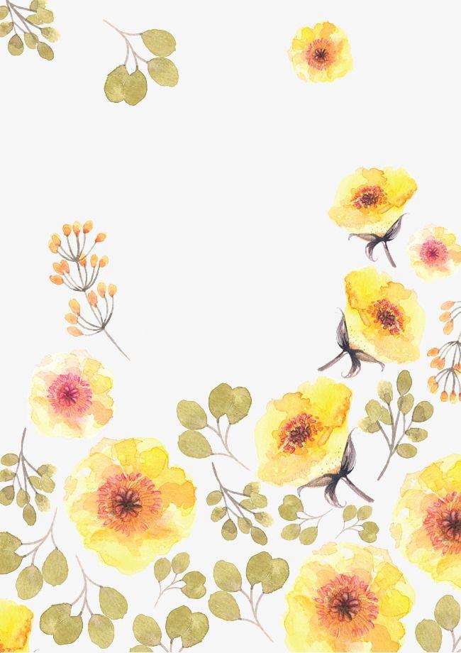 Yellow Flower Pattern Watercolor Flowers Paintings Flower Drawing Trendy Flowers