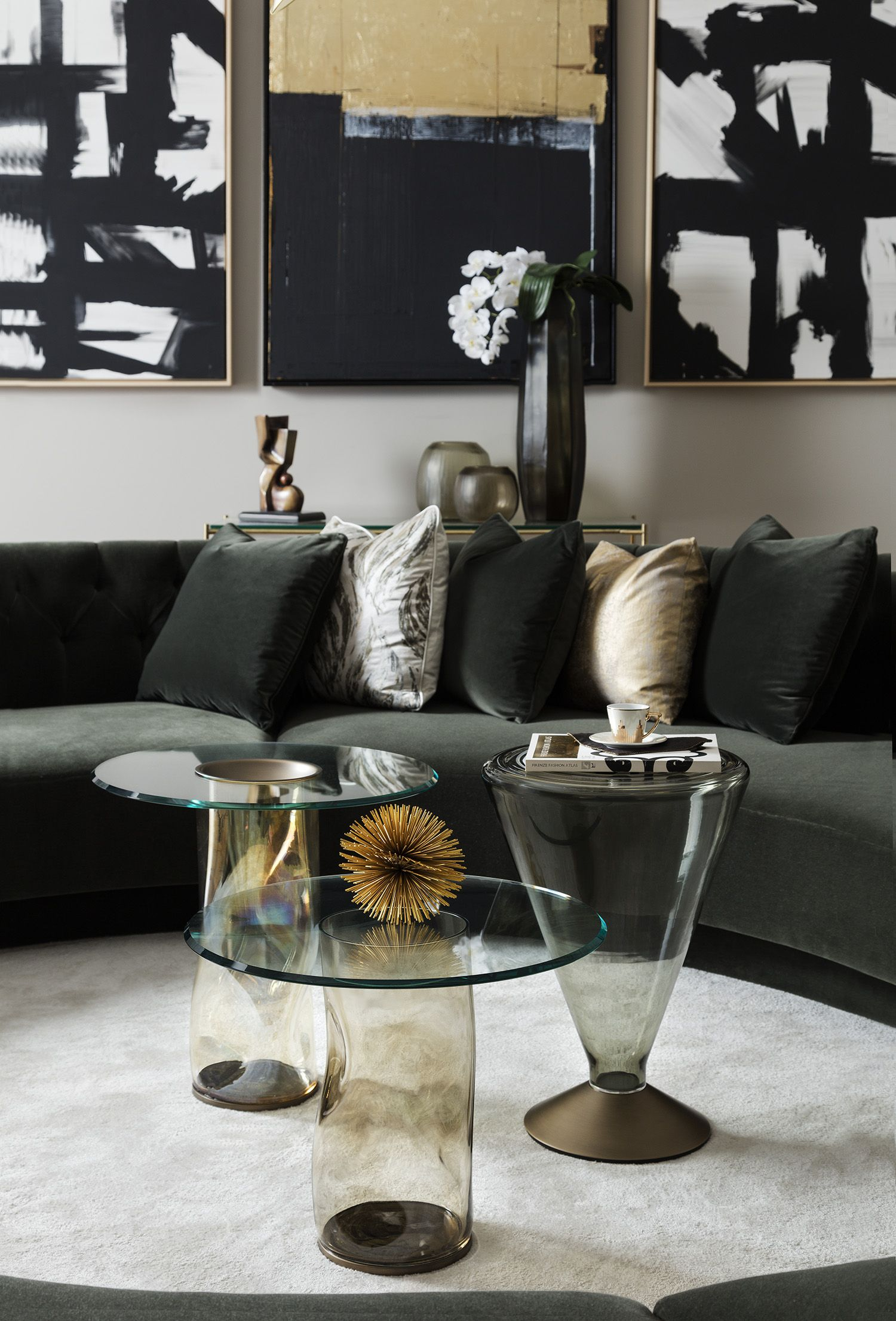 Our Dandolo And See Murano Glass Round Side Tables Look Beautiful Together Made Of Curved Sofa Living Room Luxury Living Room Design Centre Table Living Room
