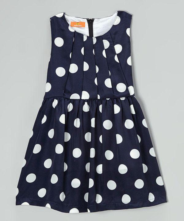 Look at this Dolce Liya Navy & White Polka Dot Sash Dress - Toddler & Girls on #zulily today!